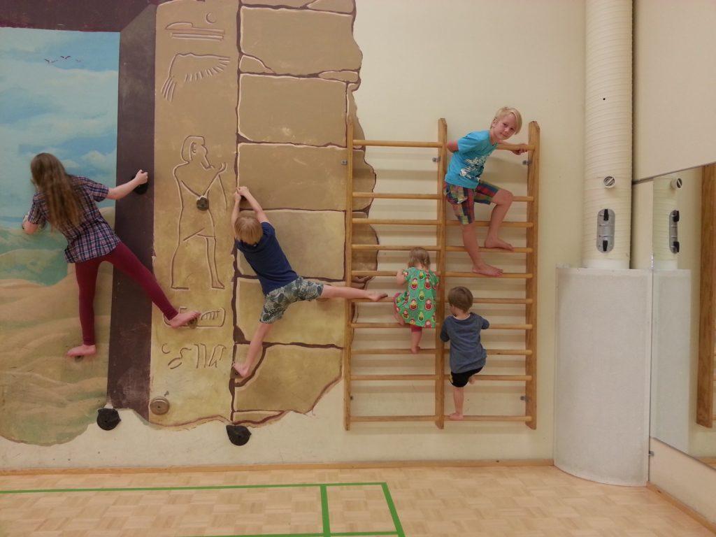 Kuvassa Nasy ry:n perhelomalle osallistuneita lapsia puolapuilla.