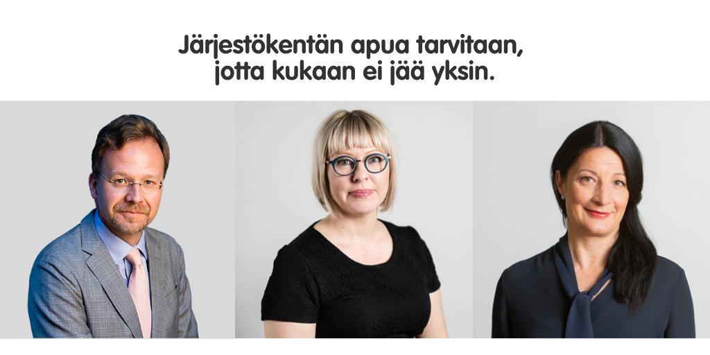 Kuvassa SOSTE Suomen sosiaali ja terveys ry:n pääsihteeri Vertti Kiukas, sosiaali- ja terveysministeri Aino-Kaisa Pekonen ja STEA sosiaali- ja terveysjärjestöjen avustuskeskuksen johtaja Kristiina Hannula.