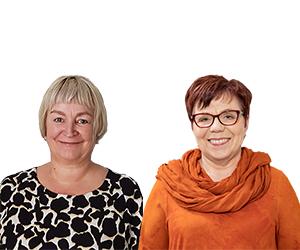 Kuvassa hymyilevät Eliina Pajula ja Merja Mäkisalo-Ropponen.