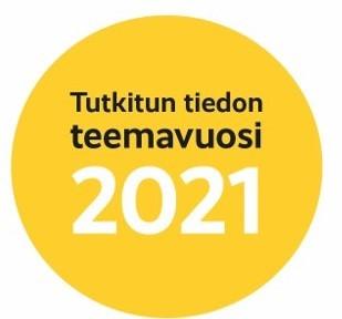 Tutkitun tiedon teemavuden logo: keltainen pallo.