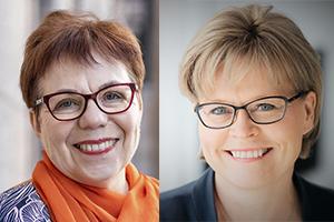 Kasvokuvissa hymyilevät Merja Mäkisalo-Ropponen ja Sari Tanus.