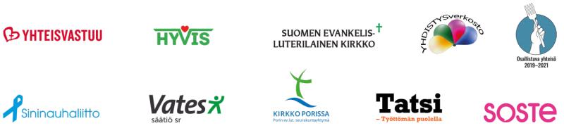 Erilainen Mingle -tilaisuuden järjestäjien logot. Järjestäjät kerrotaan tekstiosuudessa.