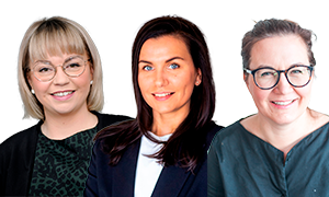 Rintakuvissa Järjestöjen sote-muutostuen Henna Hovi, Niina Salo-Lehtinen ja Reeta Valta.